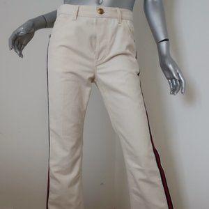 Gucci Side Stripe Bootcut Jeans Cream Denim Sz 26